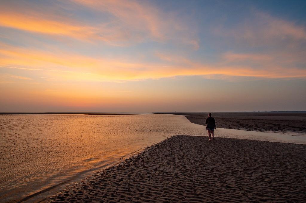 Sonnenuntergang am Wattmeer