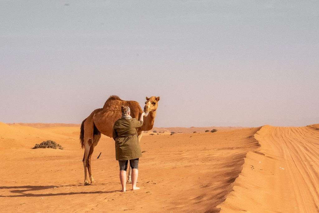 Kamel und ich in der Wüste