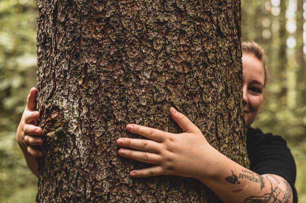 Aufnahme Baum umarmen