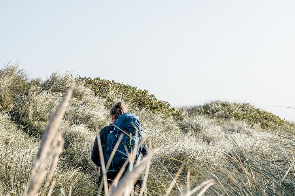 Wandern durch die Dünenlandschaft in Dänemark